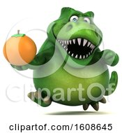 September 17th, 2018: Clipart Of A 3d Green T Rex Dinosaur Holding An Orange On A White Background Royalty Free Illustration by Julos