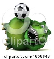 September 17th, 2018: Clipart Of A 3d Green T Rex Dinosaur Holding A Soccer Ball On A White Background Royalty Free Illustration by Julos