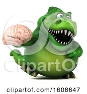 September 17th, 2018: Clipart Of A 3d Green T Rex Dinosaur Holding A Brain On A White Background Royalty Free Illustration by Julos