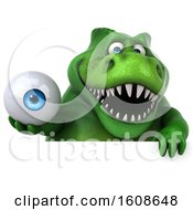 September 17th, 2018: Clipart Of A 3d Green T Rex Dinosaur Holding An Eyeball On A White Background Royalty Free Illustration by Julos