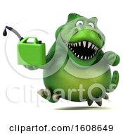 September 18th, 2018: Clipart Of A 3d Green T Rex Dinosaur Holding A Gas Can On A White Background Royalty Free Illustration by Julos
