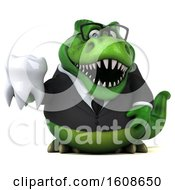 September 18th, 2018: Clipart Of A 3d Green Business T Rex Dinosaur Holding A Tooth On A White Background Royalty Free Illustration by Julos
