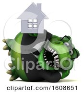 3d Green Business T Rex Dinosaur Holding A House On A White Background