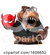 3d Brown Business T Rex Dinosaur Holding A Devil On A White Background