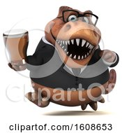 September 17th, 2018: Clipart Of A 3d Brown Business T Rex Dinosaur Holding A Beer On A White Background Royalty Free Illustration by Julos