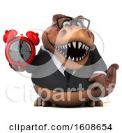 Clipart Of A 3d Brown Business T Rex Dinosaur Holding An Alarm Clock On A White Background Royalty Free Illustration