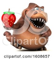 September 17th, 2018: Clipart Of A 3d Brown T Rex Dinosaur Holding A Strawberry On A White Background Royalty Free Illustration by Julos