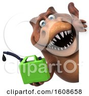 September 17th, 2018: Clipart Of A 3d Brown T Rex Dinosaur Holding A Gas Can On A White Background Royalty Free Illustration by Julos