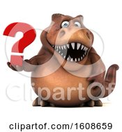 September 17th, 2018: Clipart Of A 3d Brown T Rex Dinosaur Holding A Question Mark On A White Background Royalty Free Illustration by Julos