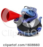 September 17th, 2018: Clipart Of A 3d Blue Business T Rex Dinosaur Holding A Megaphone On A White Background Royalty Free Illustration by Julos
