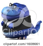 September 18th, 2018: Clipart Of A 3d Blue Business T Rex Dinosaur On A White Background Royalty Free Illustration by Julos