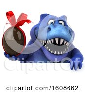 September 18th, 2018: Clipart Of A 3d Blue T Rex Dinosaur Holding A Chocolate Egg On A White Background Royalty Free Illustration by Julos