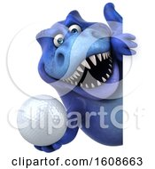 September 18th, 2018: Clipart Of A 3d Blue T Rex Dinosaur Holding A Golf Ball On A White Background Royalty Free Illustration by Julos