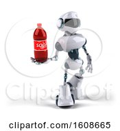 Poster, Art Print Of 3d Blue And White Robot Holding A Soda On A White Background
