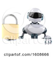 Poster, Art Print Of 3d Blue And White Robot Holding A Padlock On A White Background