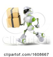 September 18th, 2018: Clipart Of A 3d Green And White Robot Holding Boxes On A White Background Royalty Free Illustration by Julos