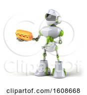 September 18th, 2018: Clipart Of A 3d Green And White Robot Holding A Hot Dog On A White Background Royalty Free Illustration by Julos
