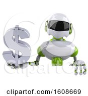 3d Green And White Robot Holding A Dollar Sign On A White Background