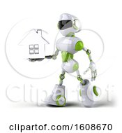 3d Green And White Robot Holding A House On A White Background