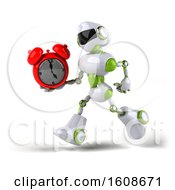 Poster, Art Print Of 3d Green And White Robot Holding An Alarm Clock On A White Background