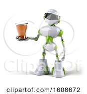 September 17th, 2018: Clipart Of A 3d Green And White Robot Holding A Beer On A White Background Royalty Free Illustration by Julos