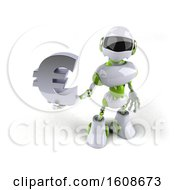 Poster, Art Print Of 3d Green And White Robot Holding A Euro On A White Background