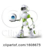 Poster, Art Print Of 3d Green And White Robot Holding An Eyeball On A White Background