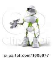 Poster, Art Print Of 3d Green And White Robot Holding A Wrench On A White Background