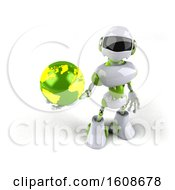 Poster, Art Print Of 3d Green And White Robot Holding A Globe On A White Background