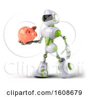 September 18th, 2018: Clipart Of A 3d Green And White Robot Holding A Piggy Bank On A White Background Royalty Free Illustration by Julos
