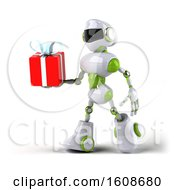 Poster, Art Print Of 3d Green And White Robot Holding A Gift On A White Background