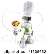 3d Green And White Chef Robot Holding Fries On A White Background