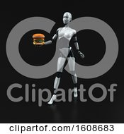 September 18th, 2018: Clipart Of A 3d Feminine Robot Holding A Burger On A Black Background Royalty Free Illustration by Julos