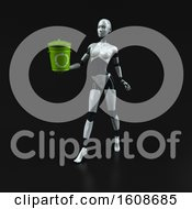 3d Feminine Robot Holding A Recycle Bin On A Black Background