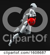 September 18th, 2018: Clipart Of A 3d Feminine Robot Holding A Devil On A Black Background Royalty Free Illustration by Julos