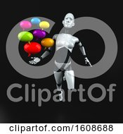 September 18th, 2018: Clipart Of A 3d Feminine Robot Holding Messages On A Black Background Royalty Free Illustration by Julos