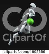 3d Feminine Robot Holding An Apple On A Black Background