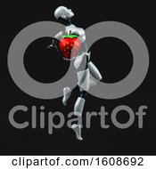 Poster, Art Print Of 3d Feminine Robot Holding A Strawberry On A Black Background