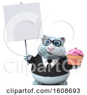 3d White Business Kitty Cat Holding A Cupcake On A White Background