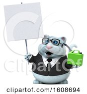 3d White Business Kitty Cat Holding A Gas Can On A White Background