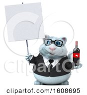 3d White Business Kitty Cat Holding Wine On A White Background