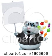 3d White Business Kitty Cat Holding Produce On A White Background