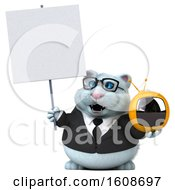 September 18th, 2018: Clipart Of A 3d White Business Kitty Cat Holding A Tv On A White Background Royalty Free Illustration by Julos