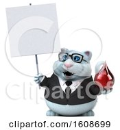 Clipart Of A 3d White Business Kitty Cat Holding A Blood Drop On A White Background Royalty Free Illustration