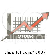 Orange Red Arrow Going Up Over A Graph Symbolizing Increasing Stocks Clipart Illustration