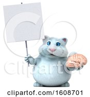 3d White Kitty Cat Holding A Brain On A White Background