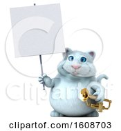 3d White Kitty Cat Holding A Trumpet On A White Background