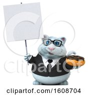 3d White Business Kitty Cat Holding A Donut On A White Background