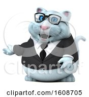 Clipart Of A 3d White Business Kitty Cat Presenting On A White Background Royalty Free Illustration