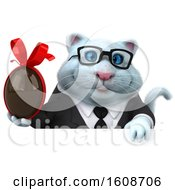 September 18th, 2018: Clipart Of A 3d White Business Kitty Cat Holding A Chocolate Egg On A White Background Royalty Free Illustration by Julos